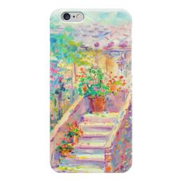 """Чехол для iPhone 6 """"Цветущий двор"""" - цветы, живопись, валерия меценатова, французский дворик"""