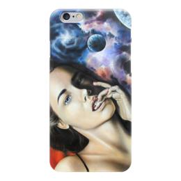 """Чехол для iPhone 6 глянцевый """"девушка космос """" - космос, арт, галактика, space"""