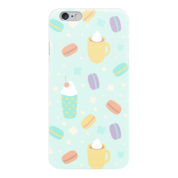 "Чехол для iPhone 6 глянцевый ""Макарон Macarons Макарун"" - кофе, макарон, макарун, macarons, французские сладости"