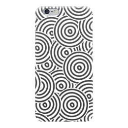 """Чехол для iPhone 6 """"Радиальный"""" - узор, стильный, круги, чёрно-белый, кольца"""