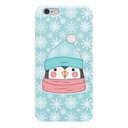 """Чехол для iPhone 6 """"Пингвин"""" - новый год, снег, розовый, снежинки, пингвин"""