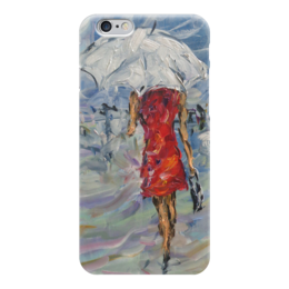 """Чехол для iPhone 6 глянцевый """"Девушка в красном"""" - для любимой, красивый подарок, ищуподарок, что подарить, не пожалеешь"""