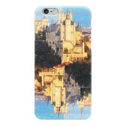 """Чехол для iPhone 6 глянцевый """"Испанские замки.Замок Сеговия."""" - полоска, голубой, желтый, испания, крепость"""