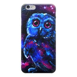 """Чехол для iPhone 6 """"Space Owl"""" - звезды, космос, сова, птички, совенок"""