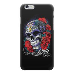 """Чехол для iPhone 6 глянцевый """"Череп в розах (рисунок)"""" - череп, рисунок, розы, картина"""