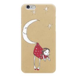 """Чехол для iPhone 6 """"На крючке у месяца"""" - девушка, девочка, луна, звёзды, месяц"""