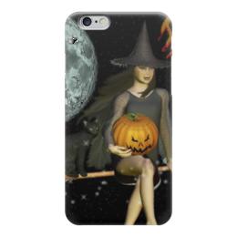 """Чехол для iPhone 6 """"Красотка"""" - луна, тыква, метла, нечисть"""