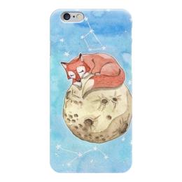 """Чехол для iPhone 6 """"Лисёнок на Луне"""" - звезды, космос, луна, акварель, лиса"""