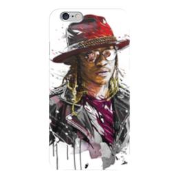 """Чехол для iPhone 6 глянцевый """"Человек в шляпе"""" - человек, шляпа, очки, куртка, арт"""