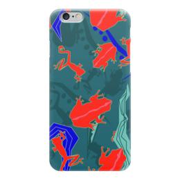 """Чехол для iPhone 6 """"Древесные лягушки"""" - лягушка, стильный, паттерн, ящерица, необычный"""