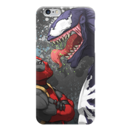 "Чехол для iPhone 6 ""Deadpool VS Venom"" - комиксы, марвел, дэдпул, веном"