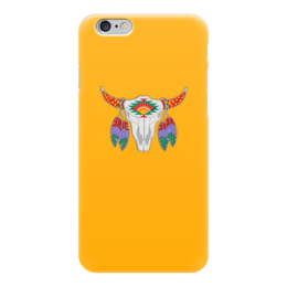 """Чехол для iPhone 6 """"Этнический бык"""" - 23 февраля, желтый, этно, бык, bull"""