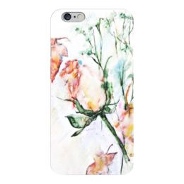 "Чехол для iPhone 6 ""Сонет"" - цветок, роза, бутон, акварелью"