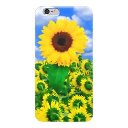 """Чехол для iPhone 6 """"Подсолнух"""" - лето, цветок, небо, облака, подсолнух"""