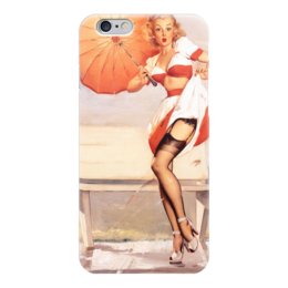 """Чехол для iPhone 6 глянцевый """"Пинап"""" - девушки, ретро, зонт, пинап, иллюстрация"""
