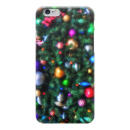 """Чехол для iPhone 6 глянцевый """"Нарядная елка (живопись)"""" - новый год, елка, шары, игрушки, ветка"""