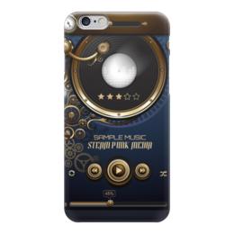 "Чехол для iPhone 6 глянцевый ""Стимпанк-музыка"" - музыка, плеер, стимпанк, кнопки, пластинка"