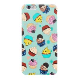 """Чехол для iPhone 6 глянцевый """"Капкейки на мятном фоне"""" - мятный, кексы, вкусно, еда, капкейки"""