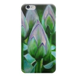 """Чехол для iPhone 6 глянцевый """"лотосы"""" - цветы, листья, природа, рисунок"""