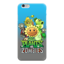 """Чехол для iPhone 6 глянцевый """"Plants vs Zombies"""" - зомби против растений"""