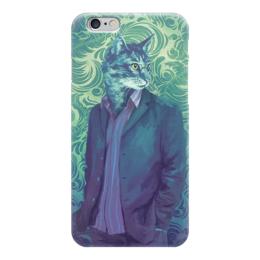 """Чехол для iPhone 6 """"Catman"""" - кот, стиль, мода, пастельные тона, костюм"""