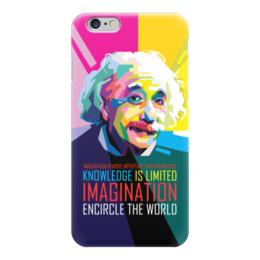 """Чехол для iPhone 6 глянцевый """"Альберт Эйнштейн"""" - арт, наука, личности, эйнштейн, учёные"""