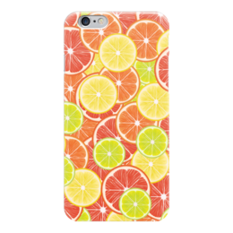 "Чехол для iPhone 6 ""Цитрусы"" - апельсин, лайм, лимон, грейпфрут, дольки"