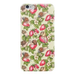 """Чехол для iPhone 6 """"Счастливые улитки"""" - красный, ягоды, клубника, паттерн, улитки"""