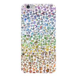 """Чехол для iPhone 6 глянцевый """"Все покемоны"""" - покемоны, pokemon go, пикачу, радуга, мульт"""