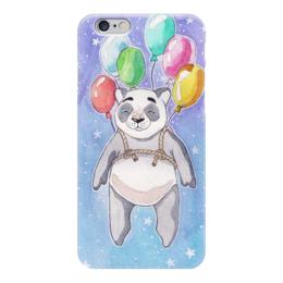 """Чехол для iPhone 6 """"Панда-путешественница"""" - звезды, панда, космос, воздушные шары, акварель"""