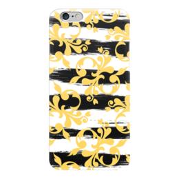 """Чехол для iPhone 6 """"Желтые завитки"""" - черно-белый, желтый, абстракция, полосатый, полоски"""