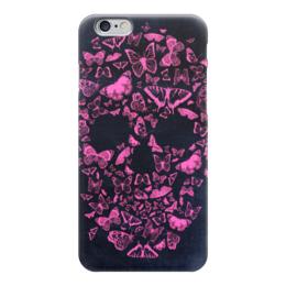 """Чехол для iPhone 6 глянцевый """"Череп"""" - череп, бабочки, popart, fine art"""