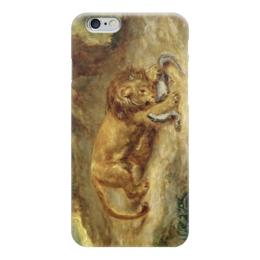 """Чехол для iPhone 6 """"Лев и кайман"""" - картина, делакруа"""