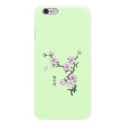 """Чехол для iPhone 6 """"Японская сакура"""" - цветы, рисунок, япония, иероглифы, сакура"""