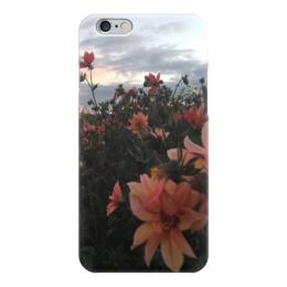 "Чехол для iPhone 6 глянцевый ""Закат"" - цветы, небо, облока, поле, вечер"