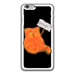 """Чехол для iPhone 6 глянцевый """"Обнимашки?"""" - кот, cat, рыжий, обнимашки, hugs"""