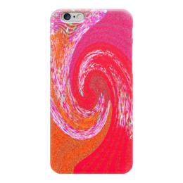 """Чехол для iPhone 6 глянцевый """"Красный вихрь"""" - красный, розовый, вихрь, полоски, смешение"""