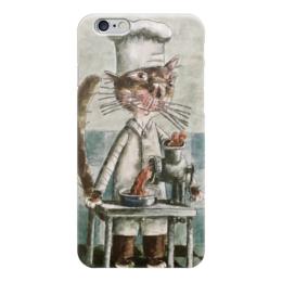 """Чехол для iPhone 6 глянцевый """"Кот-повар"""" - кот, повар, мясорубка, фарш, смешной"""