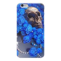 """Чехол для iPhone 6 """"Череп"""" - skull, череп, цветы, смерть, розы"""