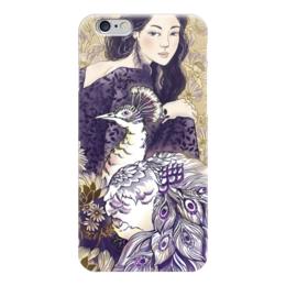 """Чехол для iPhone 6 """"Девушка и Павлин"""" - девушка, цветы, узоры, графика, иллюстрация"""
