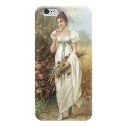 """Чехол для iPhone 6 """"Девушка с луговыми цветами и розами"""" - картина, зацка"""
