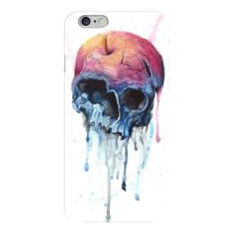 """Чехол для iPhone 6 """"Rotten apple"""" - skull, череп, акварель, яблоко"""