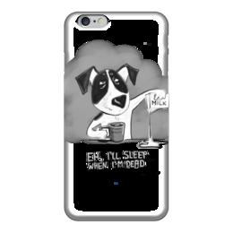 "Чехол для iPhone 6 ""I'll sleep when I'm dead"" - виски, комикс, кофе, смешная фраза, как выспаться"