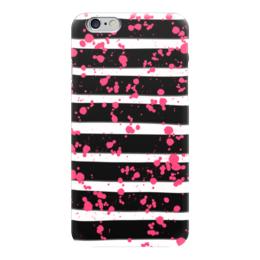 """Чехол для iPhone 6 глянцевый """"Розовые брызги"""" - розовый, абстракция, полоски, черно-белый"""