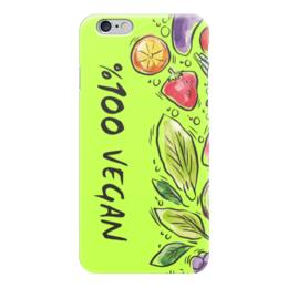 """Чехол для iPhone 6 глянцевый """"100% Vegan"""" - веган, еда, этика, vegan, go vegan"""