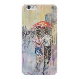 """Чехол для iPhone 6 глянцевый """"Дождь"""" - город под дождем, красиво, улица, дождь"""