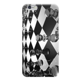 "Чехол для iPhone 6 ""шахматы"" - черно-белое, стекло, абстракция, шахматы, доска"