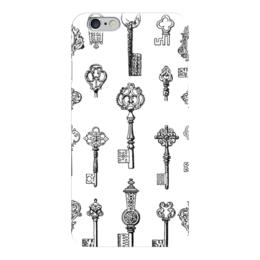 """Чехол для iPhone 6 """"Тайный ключ"""" - белый, черный, ключ, ключи"""