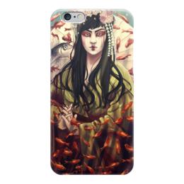 """Чехол для iPhone 6 глянцевый """"Гейша"""" - япония, гейша, море, восток, рыбы"""