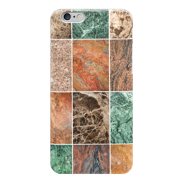 "Чехол для iPhone 6 ""Коллаж из мрамора."" - зеленый, коричневый, мрамор, stone, marble"